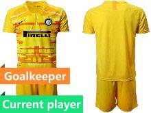 Mens 20-21 Soccer Inter Milan Club Current Player Yellow Goalkeeper Short Sleeve Suit Jersey