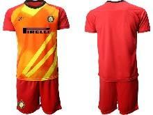 Mens 20-21 Soccer Inter Milan Club ( Custom Made ) Red Goalkeeper Short Sleeve Suit Jersey