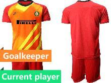 Mens 20-21 Soccer Inter Milan Club Current Player Red Goalkeeper Short Sleeve Suit Jersey