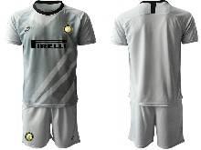 Mens 20-21 Soccer Inter Milan Club ( Custom Made ) Gray Goalkeeper Short Sleeve Suit Jersey