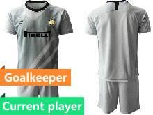 Mens 20-21 Soccer Inter Milan Club Current Player Gray Goalkeeper Short Sleeve Suit Jersey