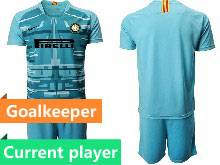 Mens 20-21 Soccer Inter Milan Club Current Player Blue Goalkeeper Short Sleeve Suit Jersey