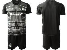 Mens 20-21 Soccer Inter Milan Club ( Custom Made ) Black Goalkeeper Short Sleeve Suit Jersey