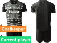 Mens 20-21 Soccer Inter Milan Club Current Player Black Goalkeeper Short Sleeve Suit Jersey