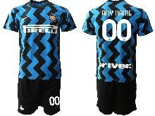 Mens 20-21 Soccer Inter Milan Club ( Custom Made ) Blue Home Short Sleeve Suit Jersey