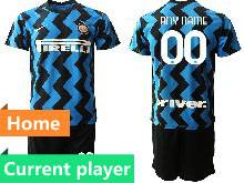 Mens 20-21 Soccer Inter Milan Club Current Player Blue Home Short Sleeve Suit Jersey