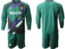 Mens 20-21 Soccer Inter Milan Club ( Custom Made ) Green Goalkeeper Long Sleeve Suit Jersey