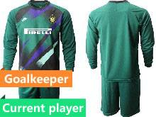 Mens 20-21 Soccer Inter Milan Club Current Player Green Goalkeeper Long Sleeve Suit Jersey