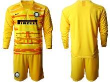 Mens 20-21 Soccer Inter Milan Club ( Custom Made ) Yellow Goalkeeper Long Sleeve Suit Jersey