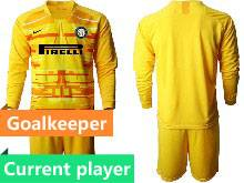 Mens 20-21 Soccer Inter Milan Club Current Player Yellow Goalkeeper Long Sleeve Suit Jersey
