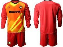 Mens 20-21 Soccer Inter Milan Club ( Custom Made ) Red Goalkeeper Long Sleeve Suit Jersey