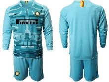 Mens 20-21 Soccer Inter Milan Club ( Custom Made ) Blue Goalkeeper Long Sleeve Suit Jersey