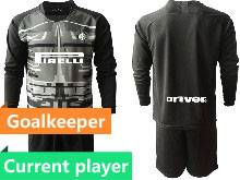 Mens 20-21 Soccer Inter Milan Club Current Player Black Goalkeeper Long Sleeve Suit Jersey