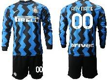Mens 20-21 Soccer Inter Milan Club ( Custom Made ) Blue Home Long Sleeve Suit Jersey