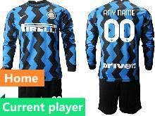 Mens 20-21 Soccer Inter Milan Club Current Player Blue Home Long Sleeve Suit Jersey