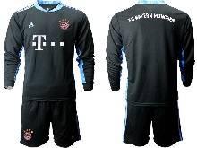 Mens 20-21 Soccer Bayern Munchen ( Custom Made ) Black Goalkeeper Long Sleeve Suit Jersey