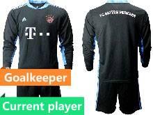 Mens 20-21 Soccer Bayern Munchen Current Player Black Goalkeeper Long Sleeve Suit Jersey