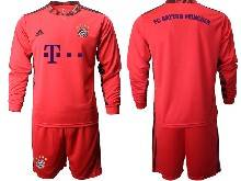 Mens 20-21 Soccer Bayern Munchen ( Custom Made ) Red Goalkeeper Long Sleeve Suit Jersey