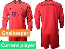 Mens 20-21 Soccer Bayern Munchen Current Player Red Goalkeeper Long Sleeve Suit Jersey