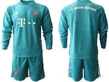 Mens 20-21 Soccer Bayern Munchen ( Custom Made ) Blue Goalkeeper Long Sleeve Suit Jersey