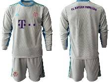 Mens 20-21 Soccer Bayern Munchen ( Custom Made ) Gray Goalkeeper Long Sleeve Suit Jersey