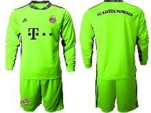 Mens 20-21 Soccer Bayern Munchen ( Custom Made ) Green Goalkeeper Long Sleeve Suit Jersey
