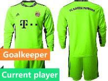 Mens 20-21 Soccer Bayern Munchen Current Player Green Goalkeeper Long Sleeve Suit Jersey