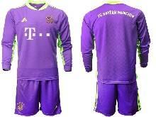 Mens 20-21 Soccer Bayern Munchen ( Custom Made ) Purple Goalkeeper Long Sleeve Suit Jersey