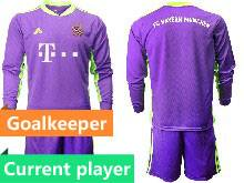 Mens 20-21 Soccer Bayern Munchen Current Player Purple Goalkeeper Long Sleeve Suit Jersey