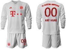 Mens 20-21 Soccer Bayern Munchen ( Custom Made ) White Away Long Sleeve Suit Jersey