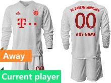 Mens 20-21 Soccer Bayern Munchen Current Player White Away Long Sleeve Suit Jersey