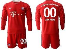 Mens 20-21 Soccer Bayern Munchen ( Custom Made ) Red Home Long Sleeve Suit Jersey
