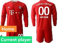 Mens 20-21 Soccer Bayern Munchen Current Player Red Home Long Sleeve Suit Jersey