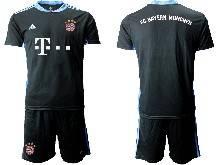 Mens 20-21 Soccer Bayern Munchen ( Custom Made ) Black Goalkeeper Short Sleeve Suit Jersey