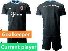 Mens 20-21 Soccer Bayern Munchen Current Player Black Goalkeeper Short Sleeve Suit Jersey