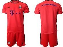 Mens 20-21 Soccer Bayern Munchen ( Custom Made ) Red Goalkeeper Short Sleeve Suit Jersey