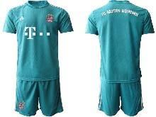 Mens 20-21 Soccer Bayern Munchen ( Custom Made ) Blue Goalkeeper Short Sleeve Suit Jersey
