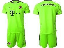 Mens 20-21 Soccer Bayern Munchen ( Custom Made ) Green Goalkeeper Short Sleeve Suit Jersey