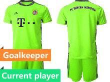 Mens 20-21 Soccer Bayern Munchen Current Player Green Goalkeeper Short Sleeve Suit Jersey