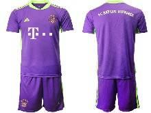 Mens 20-21 Soccer Bayern Munchen ( Custom Made ) Purple Goalkeeper Short Sleeve Suit Jersey