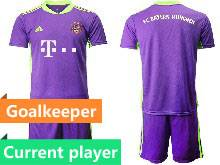 Mens 20-21 Soccer Bayern Munchen Current Player Purple Goalkeeper Short Sleeve Suit Jersey