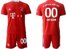 Mens 20-21 Soccer Bayern Munchen ( Custom Made ) Red Home Short Sleeve Suit Jersey