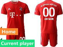Mens 20-21 Soccer Bayern Munchen Current Player Red Home Short Sleeve Suit Jersey