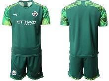 Mens 20-21 Soccer Manchester City Club ( Custom Made ) Green Goalkeeper Short Sleeve Suit Jersey
