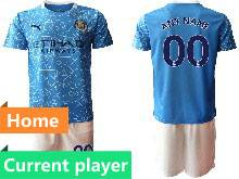 Mens 20-21 Soccer Manchester City Club Current Player Blue Home Short Sleeve Suit Jersey