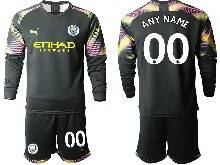 Mens 20-21 Soccer Manchester City Club ( Custom Made ) Black Goalkeeper Long Sleeve Suit Jersey