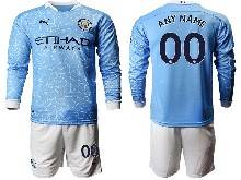 Mens 20-21 Soccer Manchester City Club ( Custom Made ) Blue Home Long Sleeve Suit Jersey