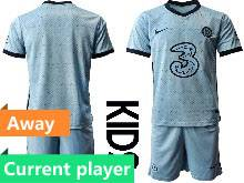 Kids 20-21 Soccer Chelsea Club Current Player Light Blue Away Short Sleeve Suit Jersey