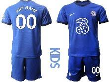 Kids 20-21 Soccer Chelsea Club ( Custom Made ) Blue Home Short Sleeve Suit Jersey