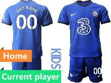 Kids 20-21 Soccer Chelsea Club Current Player Blue Home Short Sleeve Suit Jersey